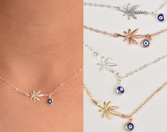Marijuana leaf and blue evil eye necklace - marijuana blue eye necklace  - leaf necklace- weed necklace - gold-rose gold- silver - oxidized