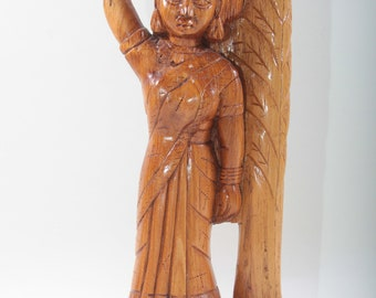 Woman With A Jug, Wooden, Book End, Hand Carved Tribal Figure, Statuette, Sculpture, Home, Decor, Collection, Vintage, Nostalgia ~ 170618