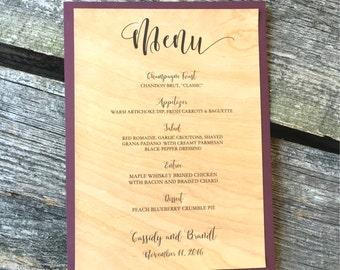Real Wood Menus, Wooden Menus, Menus made of wood, Menus with Wood, Wooden Dinner Menu, Wood Wedding Menu, Wood Rehearsal Menus