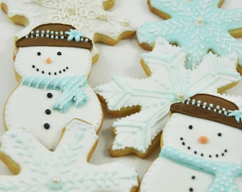 Winter Wonderland  Snowflakes and frosty the snowman White Christmas Cookies - cute decorated perfect holiday gift sugar cookies - snow