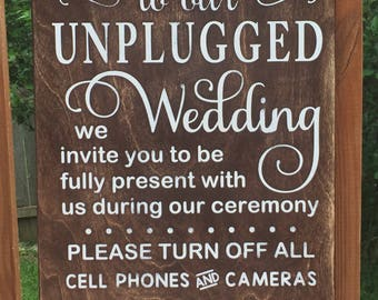 Unplugged Wedding Wood Sign
