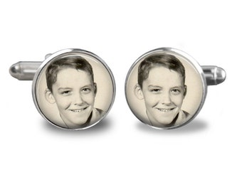 Personalized Photo Cuff Links - Custom Wedding Father of Bride or Groom Keepsake Picture Jewelry Gift for Man