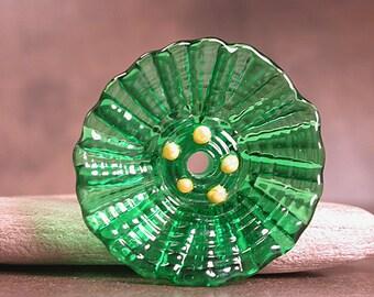 Glass Flower Focal Bead, Lampwork Flowers, Art Glass Flower Focal,  Emerald Green, Divine Spark Designs, SRA