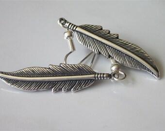 Antiqued Silver Feather Earrings, Dangle, Medium, Metal Feather Earrings