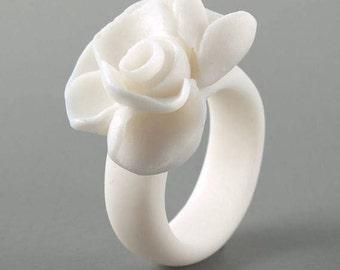 Porcelain Primrose Flower Ring ∙  Cluster Cocktail Ring ∙ Statement Ring ∙ Hypoallergenic  Ring  ∙ Large Ring