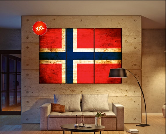 Norway flag canvas wall art art print large  canvas wall art print Norway flag country flag Wall Home office decor interior Office Decor