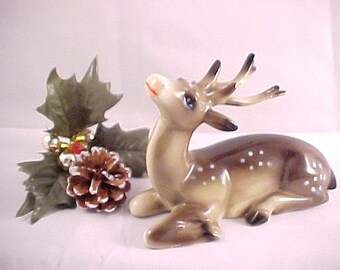Vintage Deer Figurine with Antlers, Christmas Scene Hand Painted Home Decor, Collectible Wild Animal Figure