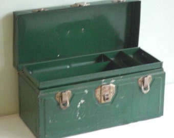 Vintage Green Metal Union Utility Chest Tool Box with Insert Tray