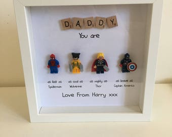 Personalised Handmade SUPERHERO Lego Scrabble Frame First 1st Fathers Day Daddy Dad Grandad Hero Gift Present (FR03)