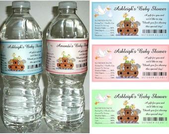 20 NOAH'S ARK Baby Shower favors water bottle labels ~ glossy ~ waterproof ink
