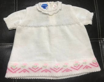 SALE PRICE Vintage Kid's Baby Girls 3 month? Nod Togs Flowered Sweet Sweater Dress Tunic Pink and White