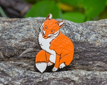 Cute Fox Brooch - Hand painted designer wood brooch, unique Australian design