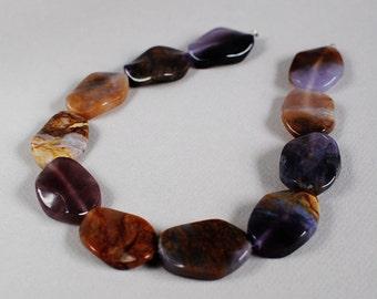 Amethyst Beads - Amethyst Focal - Large Amethyst Wavy Ovals - 30mm - 15 inch strand