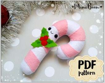 Candy cane felt pattern Christmas felt pattern Candy cane ornament sewing pattern Advent calendar felt patterns Candy cane sewing DIY