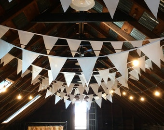 125 Foot White Bunting Flag Banner - Vintage Cotton - Wedding - Baby Shower - FREE SHIPPING CANADA!