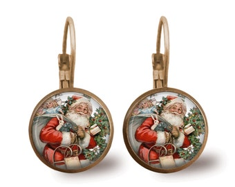 Christmas Earrings Santa Earrings Christmas Jewelry Tile Earrings Holiday Vintage Santa Jewelry Holiday Earrings Santa Jewelry Brass Jewelry