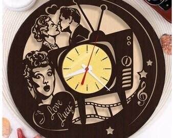 I Love Lucy clock/Wooden clock *W129 HDF plywood clock/Wall clock/Wooden Horloge/Wooden Gift/Handmade Clock
