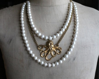 White Pearl Octopus Multi-strand Necklace | Aquatic Necklace | Vintage Necklace