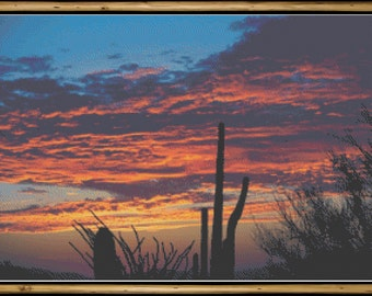 Southwest Desert at Sunset with Cacti Cross Stitch Pattern (first in series)