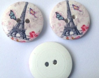 Buttons on the theme of the monuments of Paris