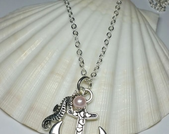 Pink Glass Pearl Anchor Necklace with Seahorse, Silver Handmade Costume Jewellery, Nautical Sealife Beach Necklace, Ocean Jewellery
