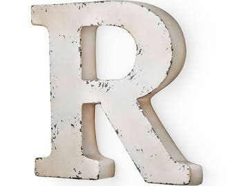 Antique ivory-colored metal letter R 31X5X30 cm