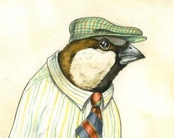 Dapper House Sparrow print 8x10