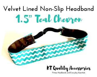 "1.5"" Running Headband,  Fitness Headband, Workout Headband, Nonslip, No Slip Sports Headband, Adjustable, Teal and White Chevron"
