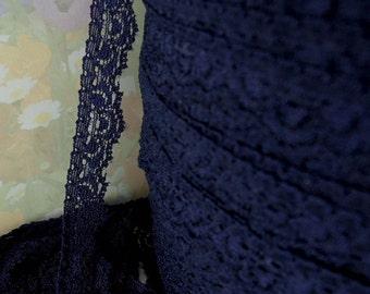 3yds Stretch Lace Elastic Ribbon Blue scallop Trim 1/2 inch DIY Wedding lingerie Lace Dark Blue lingerie Edging Single Sided Lace Trim RLzz
