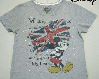 Disney Mickey Gray Tshirt Short Sleeve Size L