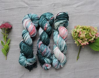 Grass and Strawberries - Hand Dyed Yarn -  DK 100% merino wool