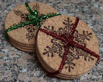 Cork Snowflake Coaster Set ~ Laser Engraved ~ Cork Coaster Set