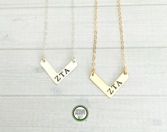 Zeta Tau Alpha Necklace - Zeta Tau Alpha Jewelry - Sorority Chevron Necklace - Sorority Jewelry - Sorority Necklace - Big Sis Little Sis