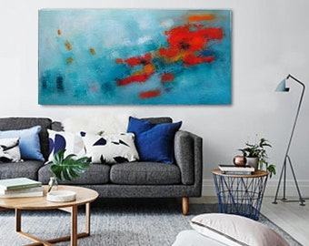 XL long horizontal Turquoise abstract painting oil 48x24,Art prints canvas giclee,Modern posters on Fine art print paper,Huge sizes wall art