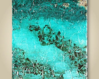 Turquoise Abstract Painting, Original Painting, Canvas Art, Modern Art, Abstract Art, Textured Painting, Canvas Painting, Teal Painting