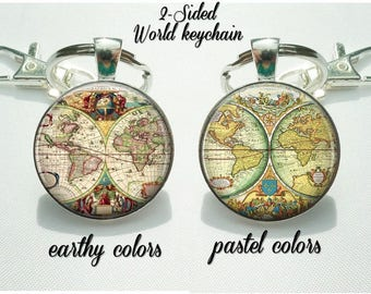 World map keychain double sided globe keyring gift for world map keychain double sided globe keyring gift for world traveler vintage gumiabroncs