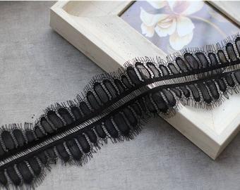 3m/lot white eyelash lace trim DIY lace fabric black lace applique 8cm width