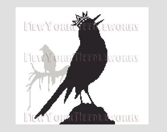 Crow Cross Stitch, Crow Silhouette Pattern, Cross Stitch, Crows, Bird Silhouette, Crown, Silhouettes, Bird from NewYorkNeedleworks on Etsy