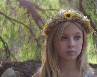 Sunflower Crown -Baby's Breath Flower Crown - Flower Girl Crown- Sunflower Wedding - photo prop- Bridal Flower Crown- Rustic Sunflower halo