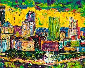 Green art, Pittsburgh skyline, large Pittsburgh art, Modern wall art, Metal prints, Pittsburgh Artist, Johno Prascak