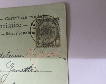 Old antique vintage Western Australia colour postcard in French with a Belgium stamp