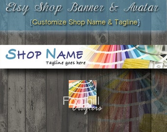 Etsy Shop Banner and Matching Avatar - Premade Art - Color Swatch - Paint Brush - Paints - Customize Shop Name - Graphic Design - Colors