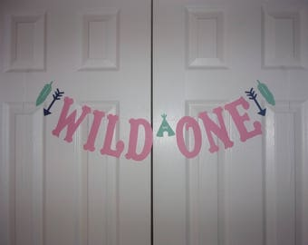 WILD ONE Letter Banner - Baby Pink, Sea-Foam Green, Navy Blue - Cardstock Paper - Arrow, Teepee, Feather - Girl 1st Birthday Party Sign
