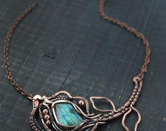 Blue green Labradorite necklace Copper pendant Wire wrapped pendant Natural Labradorite Wire wrapped jewelry Wire wrap necklace Gift for her