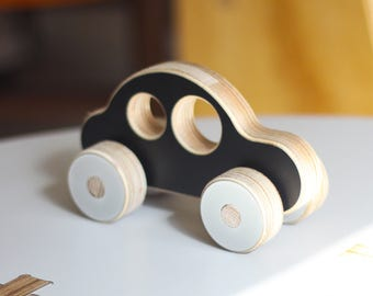 Sedan Wooden Car Push Toy | White, Black or Grey | Handmade, Cute, Minimal, Modern Plywood Kids Toy | A Great Gift for Boys or Girls.