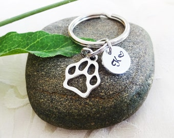 PAW PRINT KEYCHAIN with initial charm -  Choose keyring, clasp or heart keyring - One flat rate shipping in my shop :)