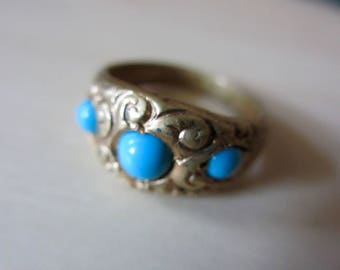 Victorian Aesthetic Era Turquoise Glass Repousse Ring Gilt Brass Band