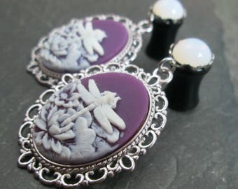 Dragonfly Dangle Plugs - 10g - 8g - 6g - 4g - 2g - 0g - Plug Earrings - Dragonfly Jewelry - Purple and White - Dangle Gauges