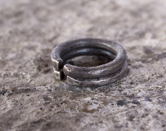 Oxidized sterling silver band ring set. Two textured cuff rings. Unisex. Hand crafted.