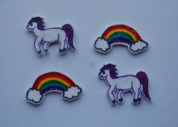 Sparkly Unicorn and Rainbow Fridge/ Kitchen Magnets Set of 4